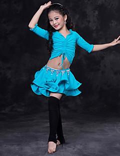 levne Dětské taneční kostýmy-Břišní tanec Úbory Výkon Spandex Sklady Poloviční rukáv Spuštený Sukně Vrchní deska