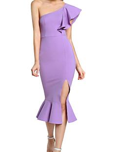 tanie Sukienki-Damskie Pochwa Sukienka - Solid Color, Falbany Z odsłoniętymi ramionami Wysoka Talia Midi