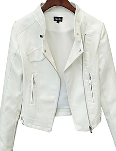 cheap -Women's Daily Casual Winter Regular Leather Jacket, Solid Round Neck Cotton Acrylic Beaded