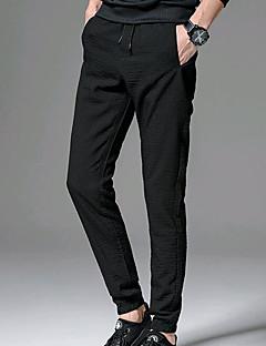 billige Herremote og klær-Herre Normal Enkel Mikroelastisk Skinny Chinos Bukser, Mellomhøyt liv Polyester Ensfarget Vår