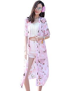 cheap Women's Tops-Women's Daily Going out Beach Simple Cute Casual Boho Summer Jacket,Plaid Peter Pan Collar Half Sleeves Long Polyester