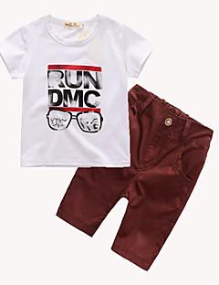 billige Tøjsæt til drenge-Drenge Tøjsæt Daglig I-byen-tøj Skole Geometrisk Galakse Trykt mønster, Bomuld Forår Sommer Simple Vintage Sødt Afslappet Aktiv Hvid