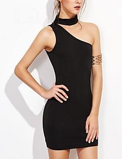 Χαμηλού Κόστους Πληροφορίες προϊόντος-Γυναικεία Βασικό Θήκη Φόρεμα - Συμπαγές Χρώμα Ως το Γόνατο Ψηλή Μέση Ένας Ώμος
