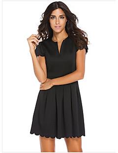 Χαμηλού Κόστους Πληροφορίες προϊόντος-Γυναικεία Αργίες Μανίκι Πεταλούδα Τουνίκ Φόρεμα - Συμπαγές Χρώμα, Εξώπλατο Πάνω από το Γόνατο Ψηλή Μέση Λαιμόκοψη V / Sexy