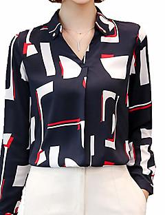 billige Overdele til damer-V-hals Krave Dame - Farveblok Simple Arbejde Skjorte
