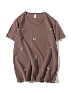お買い得  メンズTシャツ&タンクトップ-男性用 Tシャツ ベーシック ストリートファッション ソリッド 水玉 カモフラージュ