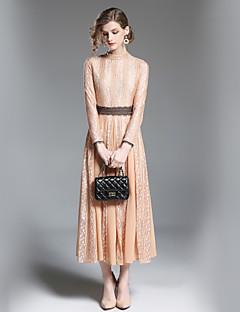 お買い得  レディースドレス-女性用 ベーシック シース ドレス - レース, ソリッド ミディ
