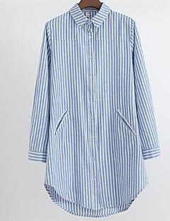 abordables Camisas y Camisetas para Mujer-Mujer Camisa, Cuello Camisero Delgado A Rayas Manga de la llamarada