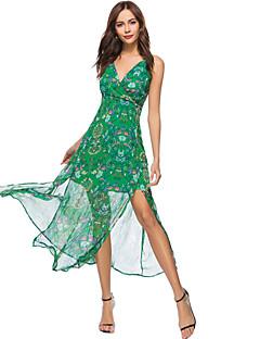 tanie SS 18 Trends-Damskie Plaża Boho Szczupła Szyfon Sukienka swingowa Sukienka - Kwiaty, Rozcięcie Nadruk Ramiączka Wysoka Talia Maxi