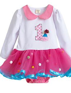 billige Babytøj-Baby Pige En del Daglig Geometrisk, Polyester Forår Langærmet Simple Hvid