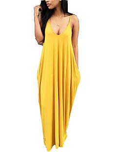 billige Damemode og tøj-Dame Boheme T Shirt Kjole - Ensfarvet Maxi