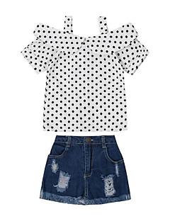 billige Tøjsæt til piger-Pige Tøjsæt Daglig I-byen-tøj Prikker, Rayon Sommer Kortærmet Afslappet Gade Hvid