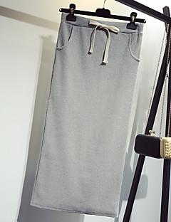 お買い得  レディーススカート-女性用 プラスサイズ お出かけ ボディコン コットン スカート - ソリッド, スリット ハイウエスト