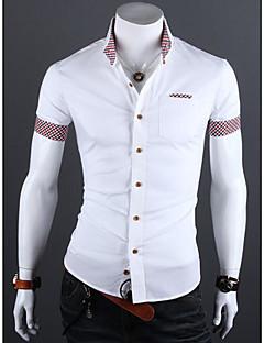 billige Herremote og klær-Polyester Kortermet, Skjortekrage Skjorte Geometrisk Sommer Enkel Daglig Herre