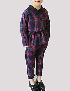 billige Tøjsæt til piger-Pige Tøjsæt Daglig I-byen-tøj Ternet Patchwork, Rayon Forår Efterår Langærmet Afslappet Gade Grøn Rød
