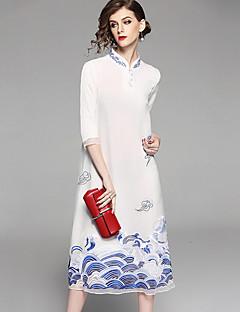 Χαμηλού Κόστους Kelifeiya-Γυναικεία Κινεζικό στυλ Φαρδιά Φόρεμα - Φλοράλ, Στάμπα Κεντητό Όρθιος Γιακάς