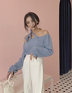 baratos Blusas Femininas-Mulheres Camiseta - Para Noite Sólido Algodão Ombro a Ombro