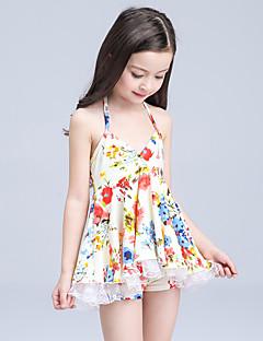 billige Badetøj til piger-Pige Sødt Aktiv Blomstret Badetøj, Nylon Uden ærmer Regnbue