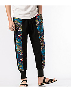 billige Herrebukser og -shorts-menns vanlige midterstige mikro elastiske chinos bukser, vintage animal print polyester / bomull vår