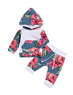 billige Sett med babyklær-Baby Unisex Tøjsæt Daglig Blomstret, Bomuld Forår Sommer Langærmet Sødt Aktiv Lyseblå