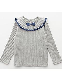 billige Pigetoppe-Pige T-shirt Daglig Ensfarvet, Bomuld Polyester Forår Efterår Langærmet Simple Hvid Lyserød Grå Lilla