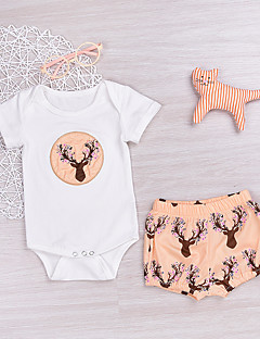 billige Sett med babyklær-Baby Pige Tøjsæt Daglig Blomstret, Bomuld Spandex Forår Sommer Kortærmet Sødt Afslappet Hvid