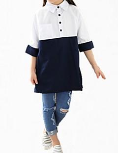 billige Pigetoppe-Pige Skjorte Daglig Ensfarvet Trykt mønster, Bomuld Forår Efterår Kortærmet Simple Sødt Hvid