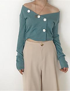 tanie Swetry damskie-Damskie Z odsłoniętymi ramionami Rozpinany Jendolity kolor Długi rękaw