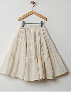billige Pigenederdele-Pige Nederdel Daglig Ensfarvet, Polyester Sommer Simple Beige