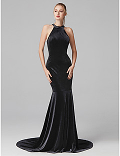 cheap Special Occasion Dresses-Mermaid / Trumpet Jewel Neck Court Train Velvet Cocktail Party / Prom / Formal Evening / Black Tie Gala / Holiday Dress with Pleats by TS