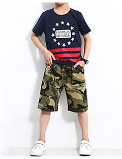 tanie Odzież dla chłopców-Dla chłopców Codzienny Urlop Nadruk Komplet odzieży, Bawełna Poliester Spandeks Lato Krótki rękaw Aktywny Niebieski