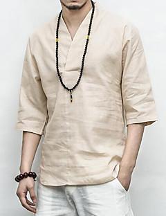 お買い得  メンズファッション&ウェア-男性用 Tシャツ アジアン・エスニック Vネック スリム ソリッド リネン
