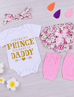 billige Sett med babyklær-Baby Pige Tøjsæt Daglig Ensfarvet Blomstret, Bomuld Spandex Forår Sommer Kortærmet Sødt Hvid