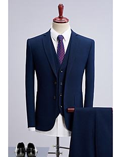 cheap Suits-Navy Blue Dots Standard Fit Polyester Suit - Slim Peak Single Breasted Two-buttons