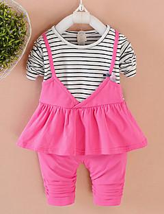 billige Tøjsæt til piger-Pige Tøjsæt Daglig Skole Ensfarvet Stribet Trykt mønster, Bomuld Forår Efterår Langærmet Sødt Lyserød Rosa
