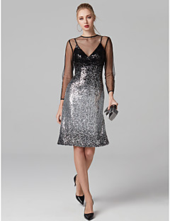 cheap Bandage Dresses-Sheath / Column Illusion Neckline Knee Length Sequined Cocktail Party Dress with Sequin by TS Couture®