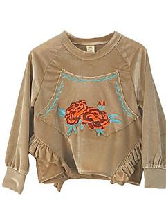 billige Hættetrøjer og sweatshirts til piger-Pige Hættetrøje og sweatshirt Daglig Geometrisk, Polyester Forår Langærmet Simple Kakifarvet