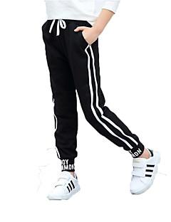 billige Bukser og leggings til piger-Unisex Bukser Daglig Sport Ensfarvet Stribet, Bomuld Polyester Forår Efterår Uden ærmer Simple Afslappet Sort