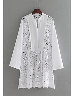 billige Bluse-Dame - Ensfarvet Udhulet Basale Bluse