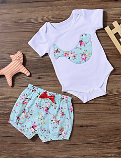billige Sett med babyklær-Baby Pige Tøjsæt Daglig Blomstret Patchwork, Bomuld Spandex Forår Sommer Kortærmet Aktiv Lyseblå