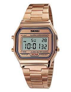 billige Rustfrit stål-SKMEI Herre Digital Digital Watch Sportsur Alarm Kalender Kronograf Vandafvisende LCD Rustfrit stål Bånd Elegant Sej Rose Guld