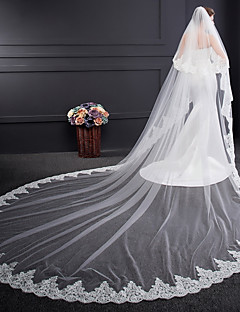 cheap Wedding Veils-Two-tier Voiles & Sheers Embroidery Wedding Veil Cathedral Veils 53 Embroidery Tulle