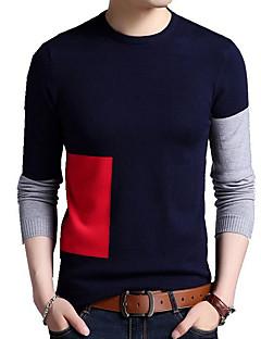 tanie Męskie swetry i swetry rozpinane-Męskie Okrągły dekolt Luźna Pulower Kolorowy blok Długi rękaw