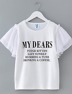 billige Pigetoppe-Pige Daglig Geometrisk T-shirt, Polyester Sommer Kortærmet Simple Basale Hvid