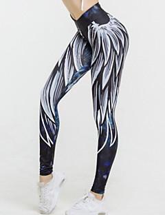 baratos Calças Femininas-Mulheres Esportivo Legging - Geométrica, Estampado Cintura Média