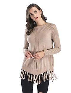 tanie Swetry damskie-Damskie Pulower - Frędzel, Solid Color Długi rękaw