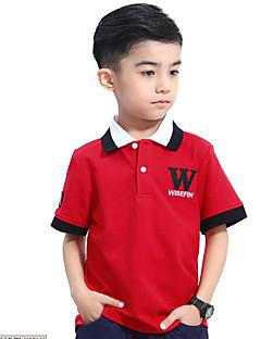 billige Overdele til drenge-Drenge T-shirt Daglig Ensfarvet, Bomuld Sommer Kortærmet Simple Blå Rød