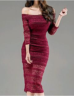 Χαμηλού Κόστους Γυναικεία Φορέματα-Γυναικεία Καθημερινό Βαμβάκι Φουσκωτό Μανίκι Λεπτό Εφαρμοστό Φόρεμα - Μονόχρωμο, Δαντέλα Ως το Γόνατο / Sexy