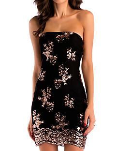 baratos Vestidos de Mulher-Mulheres Básico Skinny Tubinho Vestido - Paetês, Floral Decote Canoa Cintura Alta Mini Preto