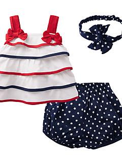 billige Sett med babyklær-Baby Pige Tøjsæt Daglig Galakse, Bomuld Sommer Uden ærmer Sødt Hvid